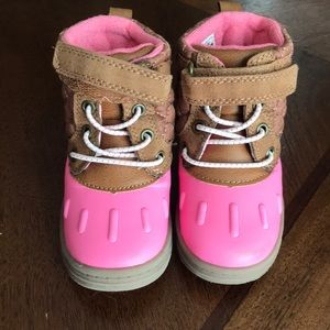 Toddler girls pink and brown boots size 6